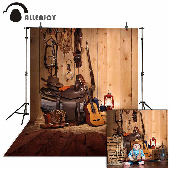 Allenjoy western photography background cowboy music countryside wood backdrop photocall photobooth decoration new fabric