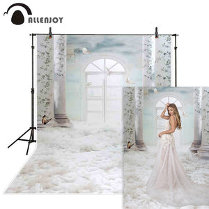 Allenjoy wedding photocall boda photography backdrops white dove heaven clouds interior Background photobooth photo studio prop