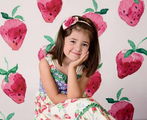 Strawberry girl backdrop for photography newborn baby shower background for photo booth studio Children birthday party decor
