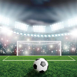 Laeacco Football Soccer Backgrounds Goal Green Grass Stadium Baby Birthday Party Portrait Photography Backdrops For Photo Studio