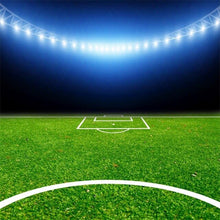 Load image into Gallery viewer, Laeacco Football Soccer Backgrounds Goal Green Grass Stadium Baby Birthday Party Portrait Photography Backdrops For Photo Studio