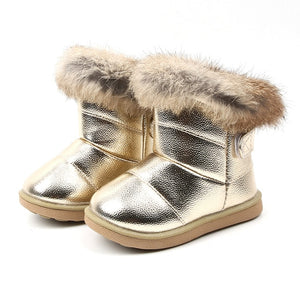 Baby Snow Boots for Girls Boys Winter Boots Baby Rabbit Fur Warm Plush Winter Shoes Kids Warm Cotton Shoes Boots