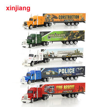 Load image into Gallery viewer, 5 Colors Alloy Cargo Truck Model Car Toy Container Vehicle Diecast Model Car For Children Boys Christmas Gifts }