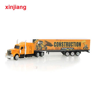 5 Colors Alloy Cargo Truck Model Car Toy Container Vehicle Diecast Model Car For Children Boys Christmas Gifts }