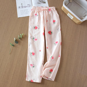 Sleep Bottoms loose new pajamas ladies trousers  Japanese fresh cotton home pants cotton gauze спальные штаны