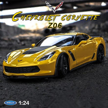 Load image into Gallery viewer, welly 1:24  Chevrolet Corvette Z06 car  alloy car model simulation car decoration collection gift toy Die casting model boy toy