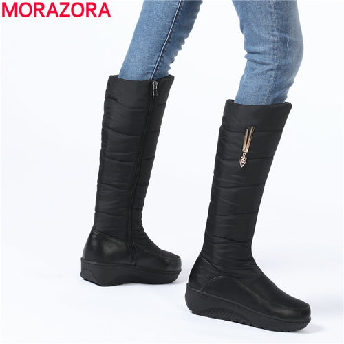 MORAZORA 2021 New Arrival Snow Boots Women Shoes Zip Wedges Platform Mid Calf Winter Boots Waterproof Thick Fur Warm Boots Lady