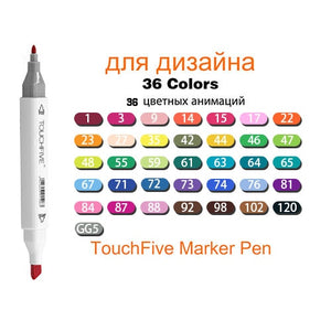 TouchFive Markers 12/80/168 Color Sketch Art Marker Pen Double Tips  Alcoholic Pens For Artist Manga Markers Art Supplies School