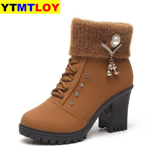 High Heel Winter Shoes Women Winter Boots Fashion Women's High Heel Boots Plush Warm Fur Shoes Ladies Brand Ankle Boots crystal