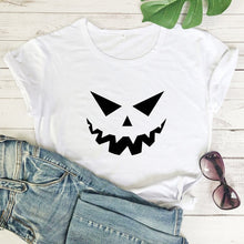 Load image into Gallery viewer, Scary Pumpkin Face T-shirt Autumn Women Short Sleeve Creepy Holiday Graphic Tees Tops Funny Unisex Halloween Party Gift Tshirt
