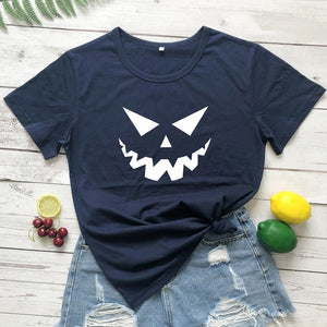 Scary Pumpkin Face T-shirt Autumn Women Short Sleeve Creepy Holiday Graphic Tees Tops Funny Unisex Halloween Party Gift Tshirt