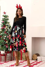 Load image into Gallery viewer, Autumn Black Big Swing Printed Vintage Christmas Dress Women Winter Casual O Neck Long Sleeve Sashes Sexy New Year Party Dresses