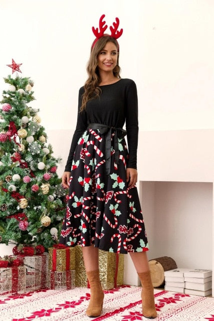 Autumn Black Big Swing Printed Vintage Christmas Dress Women Winter Casual O Neck Long Sleeve Sashes Sexy New Year Party Dresses