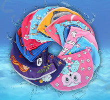 Load image into Gallery viewer, Kids Children Swimming Cap Cute Cartoon Fabric Swiming Pool Water Sport Protect Ears Hat  Boys Girls Swim Bathing Hats Caps