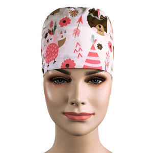 Cartoon Printing scrubs Cap for Women and men Scrub hat Health service Pet Protection Work Hat 100% Cotton Tieback Skull Hat New