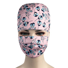 Load image into Gallery viewer, Cartoon Printing scrubs Cap for Women and men Scrub hat Health service Pet Protection Work Hat 100% Cotton Tieback Skull Hat New