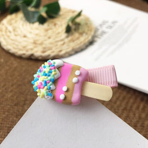 Hairpin Children Girls Barrettes Headdress Clips Ornament Accessories Colored Popsicles Donut