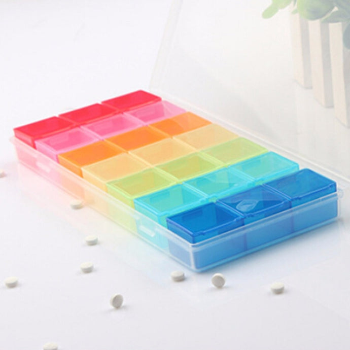 New 7 Day Pill Medicine Tablet pillbox Dispenser Organizer Case with 21 compartments pill box multicolor container for medicines