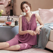 Load image into Gallery viewer, Woman New Elegant Summer Pajamas Set Homesuit Homeclothes Sleepwear Casual Style Fashion Style Sleeveless Capris V Neck Solid