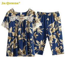 Load image into Gallery viewer, Summer Pijamas Woman Short Sleeve Capris Floral Pajamas Set Woman Clothes Sleepwear Casual Style Fashion Style Pjs Pj Set