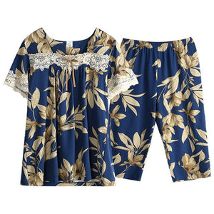 Summer Pijamas Woman Short Sleeve Capris Floral Pajamas Set Woman Clothes Sleepwear Casual Style Fashion Style Pjs Pj Set