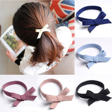 Load image into Gallery viewer, 1Pcs Solid Cute Bow Knotted Hair Scrunchie Rubber Band Hair Rope Ring Women Girls Hair Ties High Elastic Lady Haar Accessories
