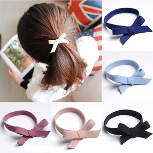 1Pcs Solid Cute Bow Knotted Hair Scrunchie Rubber Band Hair Rope Ring Women Girls Hair Ties High Elastic Lady Haar Accessories