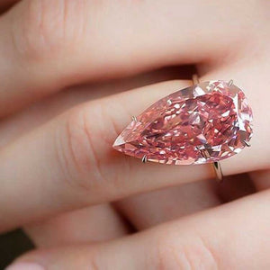 1 PC  Big Pink Water-drop Zircon Ring Sliver Color Women Girl Lady Water Drop Pear Shape Engagement Wedding Anniversary Dropship