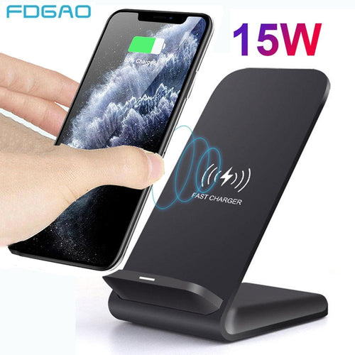 15W Qi Wireless Charger Stand For iPhone 12 Mini 11 Pro XS MAX XR X 8 Samsung S20 S10 Fast Charging Dock Station Phone Charger