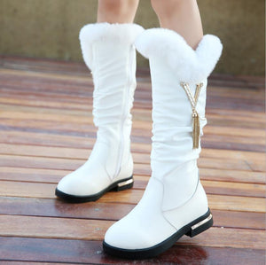 New high quality Genuine leather Girls Long Snow Boots 26-37 Winter Martin boots for Plush Warm Shoes for girls kids Sport Shoes