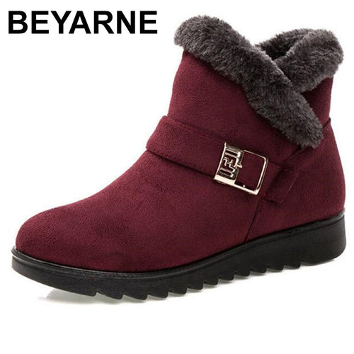BEYARNEWarm snow boots short fur plush winter ankle boots XL platform ladies suede cotton shoes women comfortable drop shipping