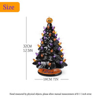Load image into Gallery viewer, Christmas and Halloween decoration, ceramic tree with orange and purple lights, increase the atmosphere of the holiday