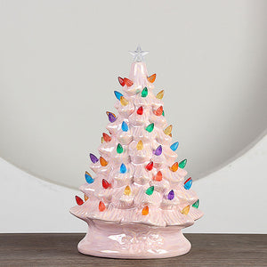 Mini Decorated Christmas Tree Light Tabletop Christmas Festival Ceramic Night Light Decoration for Office Home Desktop DIY Decor
