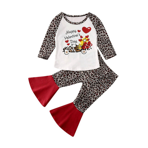 Baby Outfit Toddler Kids Girl My Happy Valentines Day Cotton T Shirt Tops Pants 2pcs Casual New Kids Clothes Set 6M-5Y