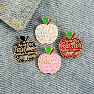 4 Colors Apples Enamel Pins Custom Teacher Super Power Brooches Fashion Bag Button Badge Enlightenment Jewelry Gift for Teachers
