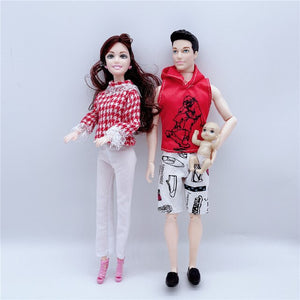 2020 Fashion 11.5/30CM Couple Barbies Doll 3 Person Combination Stroller Children Educational Toy Girl Best Christmas Gift