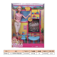 "Load image into Gallery viewer, 2020 11.5 ""Fashion latest doll princess accessories teacher classroom student blackboard combination whole set girl best gift in"