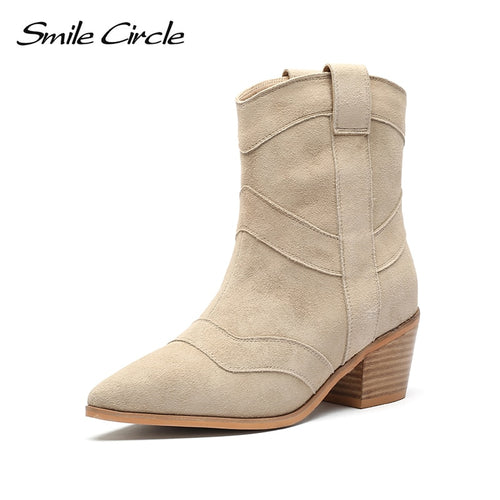 Smile Circle Slip-on Ankle Boots Women High heel shoes Fashion Pointed toe Short Boots Side 2019 winter Ladies Shoes