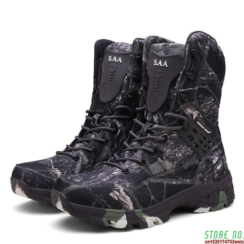 Mens Camo Military Tactical Boots Waterproof Nonslip Hiking Shoes Hunting Boots Outdoor Sneakers Delta Combat Army Military Boot
