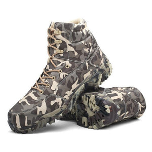 High Quality Outdoor Waterproof Trekking Hunting Boots Military Tactical Men Boots Combat Desert High Top Camouflage Ankle Shoes