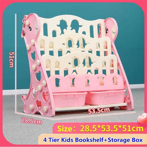 3/4 Tiers Children Bookshelf Small Kids Kindergarten Toy Stationery Storage Books Storage Shelver Racks with 2 Storage Boxes