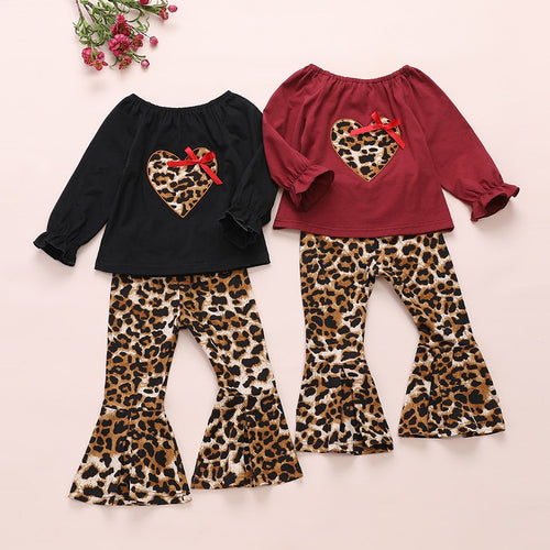 1-5Y Girls Leopard Love Heart Clothes Set Valentines Day Outfits Tops + Flare Pants Children Toddler Baby Kid Costumes Spring