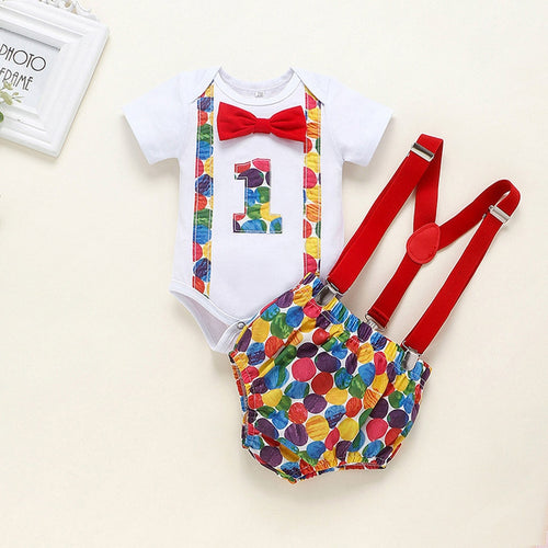One Year Boy Clothes Set Valentine Day Outfit Bow Tie Bodysuit Short Gentleman Baby Boy Clothes Newborn Sets For babygrow menino