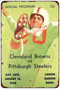 Vintage Retro Collection tin Signs-Cleveland Browns vs. Pittsburgh Steelers in 1958-Wall Decoration Poster Home bar Restaurant