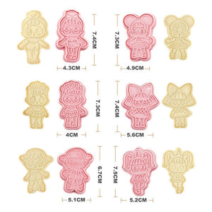 6pieces LOL Surprise Doll Set of Cookie Cutters 3d Cartoon Biscuit Mould Plastic Pressing Fun Baking Tools Kitchen Supplies