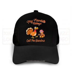 Beautiful My Favorite Turkeys Call Me Grandma Funny Thanksgiving Baseball Cap