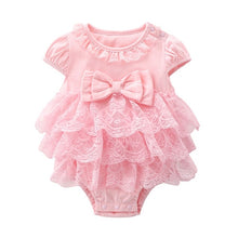 Load image into Gallery viewer, Cotton Bodysuit For Newborns Summer Short Sleeve Jumpsuit For Girls Lace New born 1st Birthday Party Clothes Twin Clothing 2021