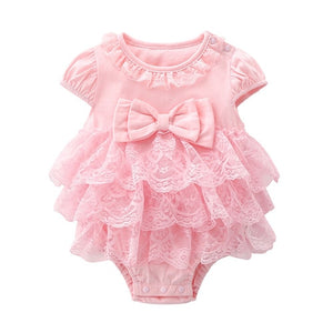Cotton Bodysuit For Newborns Summer Short Sleeve Jumpsuit For Girls Lace New born 1st Birthday Party Clothes Twin Clothing 2021