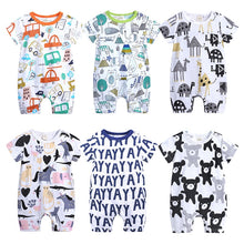 Load image into Gallery viewer, 2021 New Born Baby Boys Girls Cartoon Clothing Summer Thin Short Sleeved Rompers Infant Animal Costumes Baby Boutique Clothes