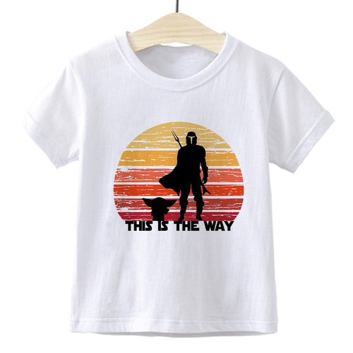 Children's clothing mandalorian cartoon print boy T-shirts cute girl top summer all-match casual kids clothes Star Wars tshirt